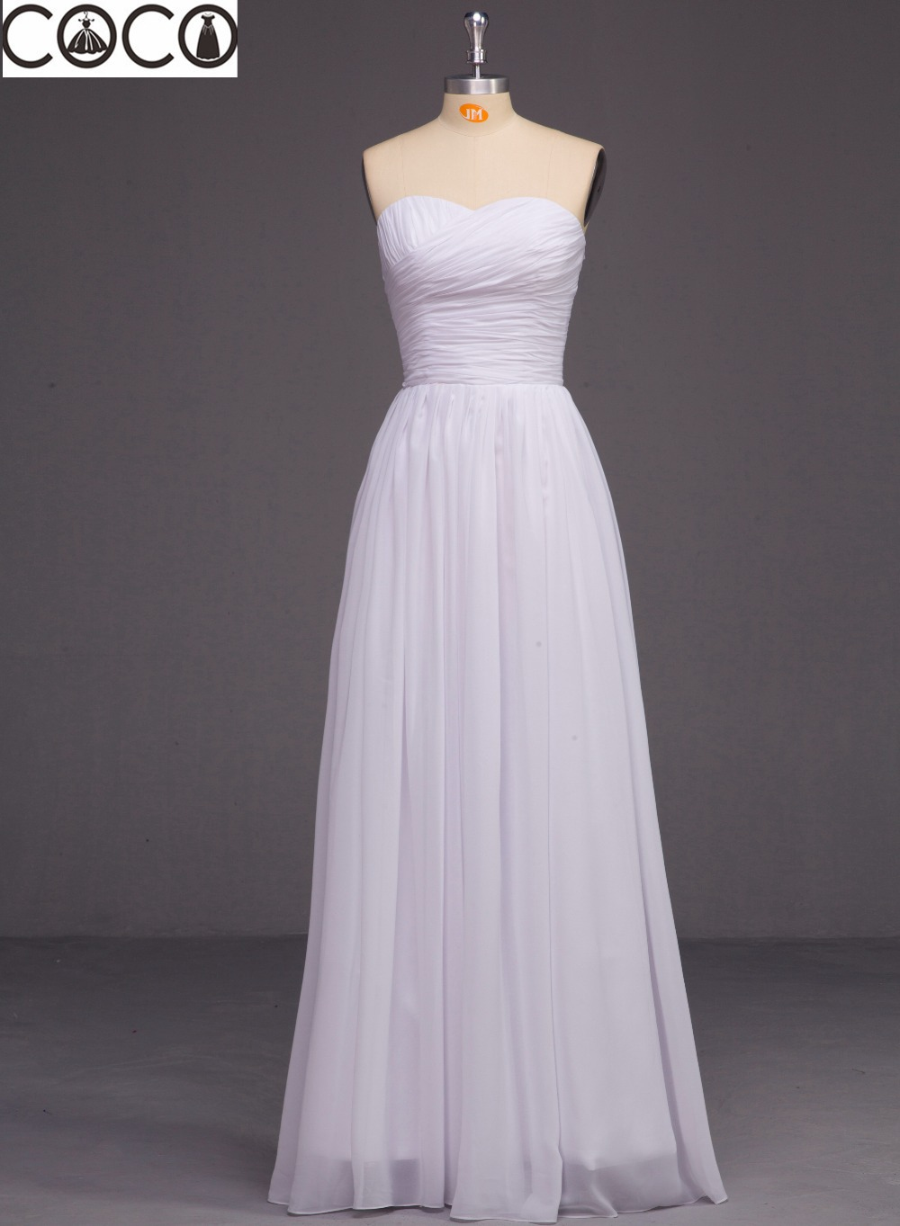 2015 cocodress a line sweetheart chiffon ruched white for Real simple wedding dresses