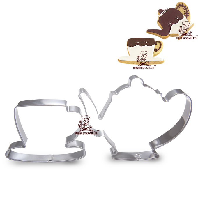 High quality stainless steel Teacups and teapot cookie cutter set metal cookie stamp 5sets/lot cooking tools(China (Mainland))