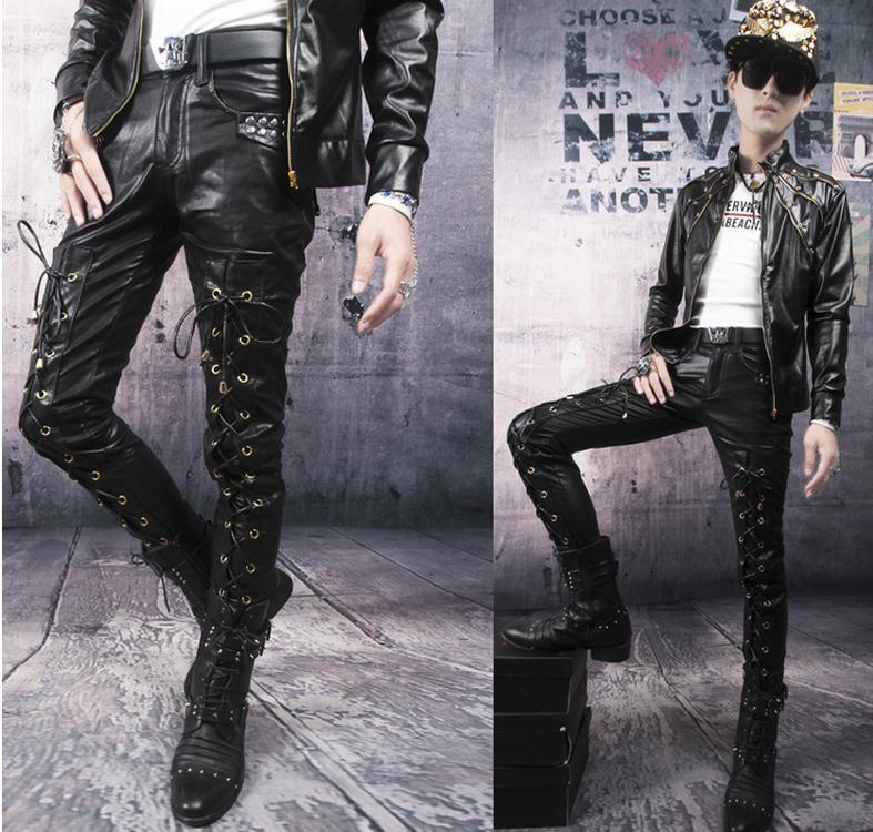 Autumn black red white dance Bandage leather pants men street pant slim mens 1 trousers pantalones hombre - Fashion clothes store wang
