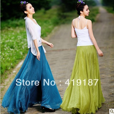 2013 fashion womens casual best quality multicolor maxi high-waist long skirts free shipping~best seller