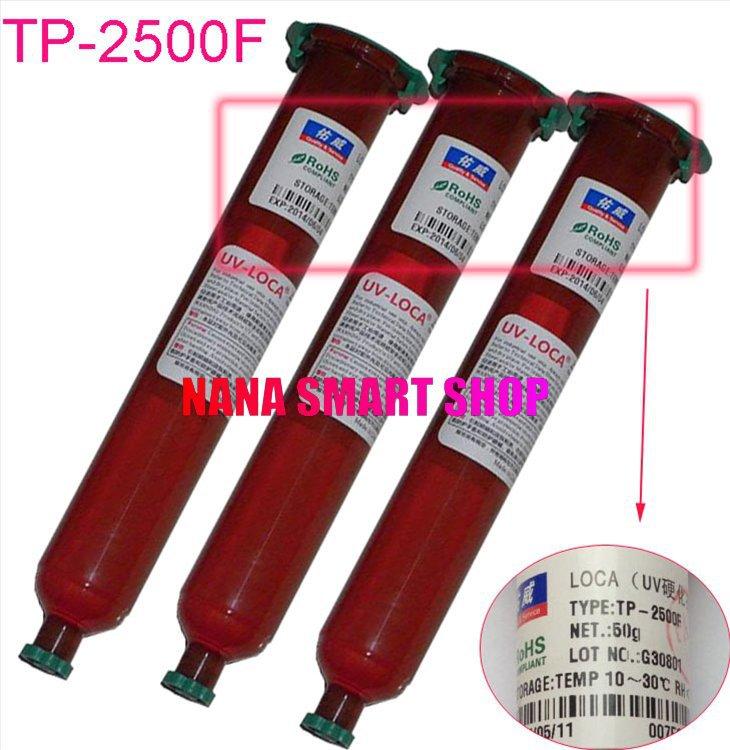3pcs TP-2500F Genuine UV glue LOCA Liquid optical clear adhesive UV GLUE 50g Super Glue for Mobile outer glass len LCD repair(China (Mainland))