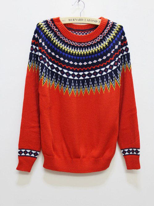 Women Winter Warm Aztec Tribal Totem Sweaters And Pullovers Casual Long Sleeve Tricotado Knitted Pullover Sweater(China (Mainland))