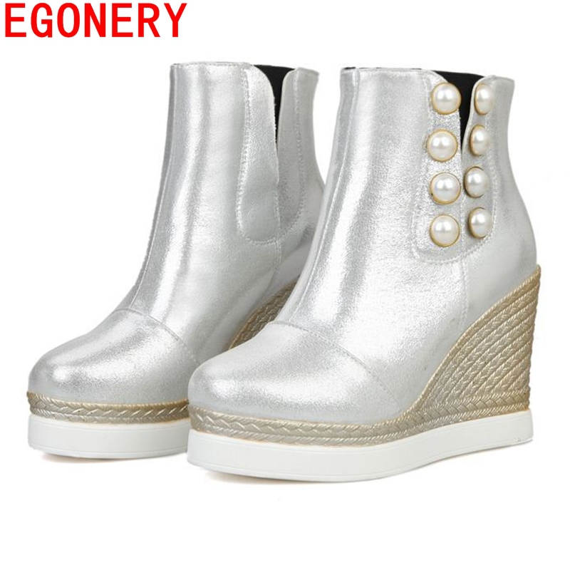 2015 new autumn winter fashion botas wedges high heels riding boots platform shoes pearls decoration bota feminina shoes woman<br><br>Aliexpress