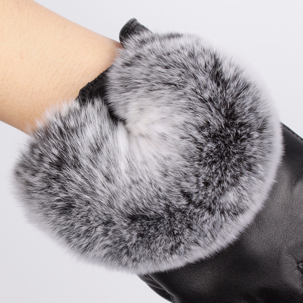 thicker leather gloves female winter Lady touchscreen sheepskin wool rex - swallow silk road store