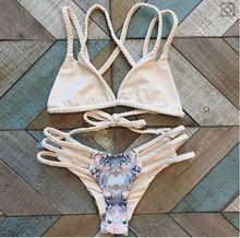 bikini 2016 swimsuit bikinis women striped swimwear bathing suit women push up brazilian bikini padding biquini maillot de bain(China (Mainland))