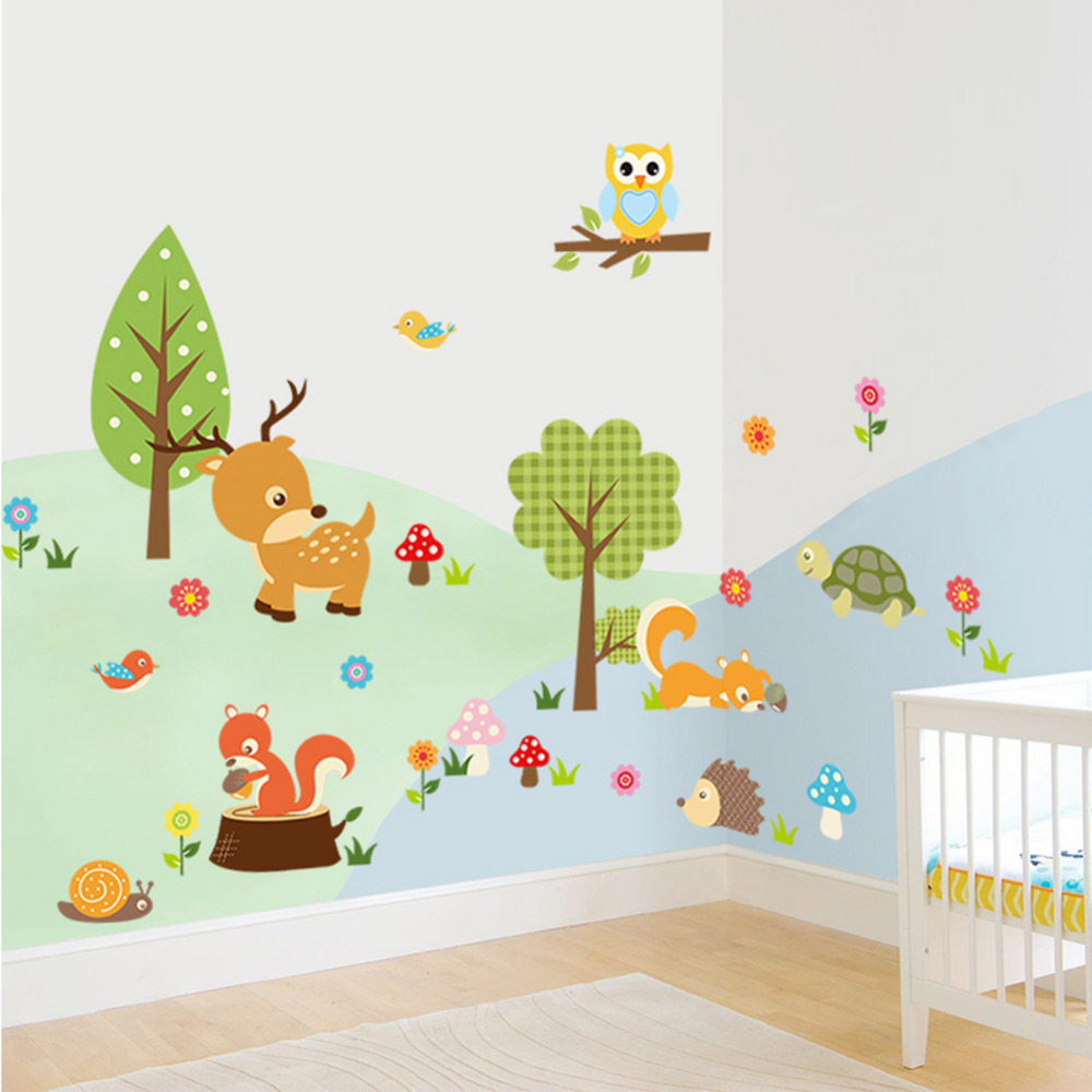Cute animals wall sticker zoo tiger owl turtle tree forest for Animal wall mural