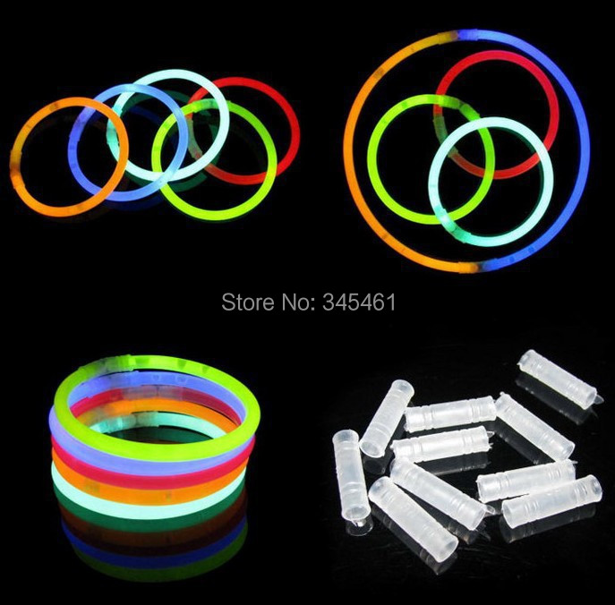 100pcs Halloween Christmas Glow sticks Decoration Festivity Ceremony Flashing Stick with connector Fluorescent Bracelet LED Toys(China (Mainland))