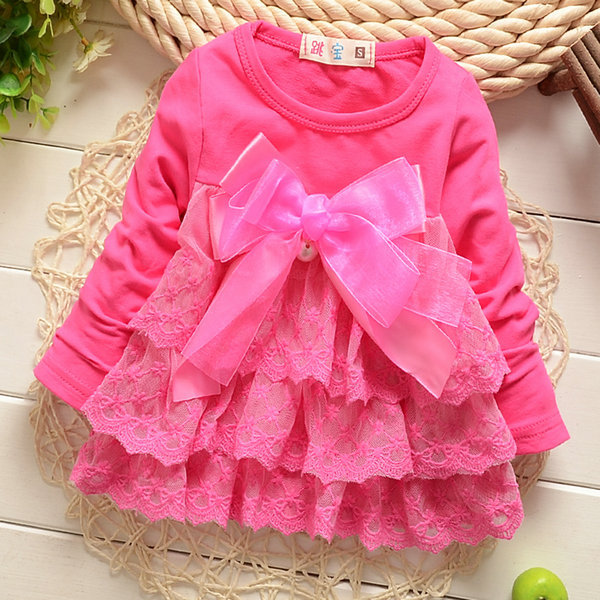 0-5Y Girls Princess Lace Floral Dresses Baby Long Sleeve Cotton Pleated Dress New(China (Mainland))