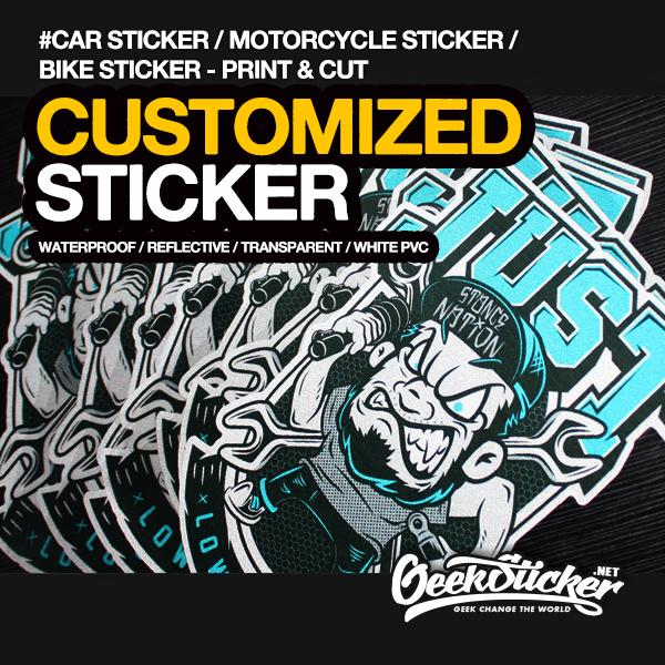 high quality customized kiss cut printing& die  sticker waterproof vinyl/ transparent /reflective car bike laptop skateboard