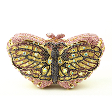 Pink Butterfly Evening Bags Cocktail Crystal Clutches Outlet Cheap Special Occasion Bags Discount Designer Purses for Weddings