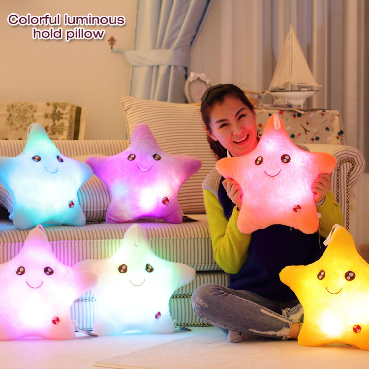 2015 New lovely Battery Powered Decorative Flashing LED Light Plush Smiling Star Cushion Pillow/ perfet gift for lover&friends(China (Mainland))