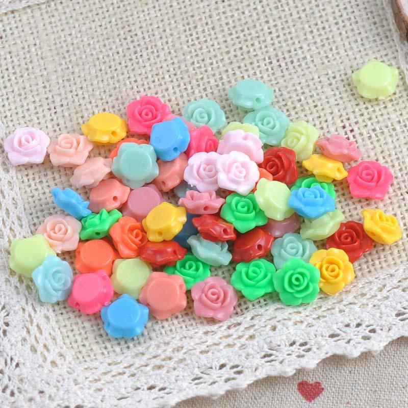 2015 New 100PCs MIX Colors Lovely Flower Shape Acrylic beads flatback Cabochon Scrapbooking Craft DIY 13x13mm M008(China (Mainland))