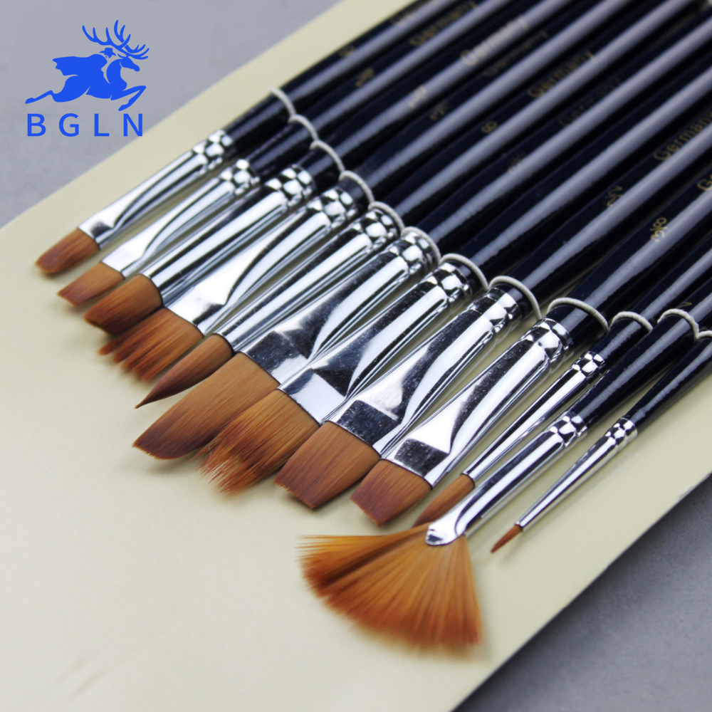 12Pcs Paint Brushes Set Nylon Hair Painting Brush Variety Style Short Rod Oil Acrylic Brush Watercolor Pen Art Supplies(China (Mainland))