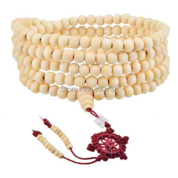 New Hot Natural Sandalwood Buddhist Buddha Meditation 216 beads Wood Prayer Bead Mala Bracelet Necklace Women