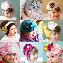 2015 Fashion Big Flower Baby Hat Newborn Photography Props Beanie 100% Cotton Pocket Hats Spring and Autumn Accessories(China (Mainland))