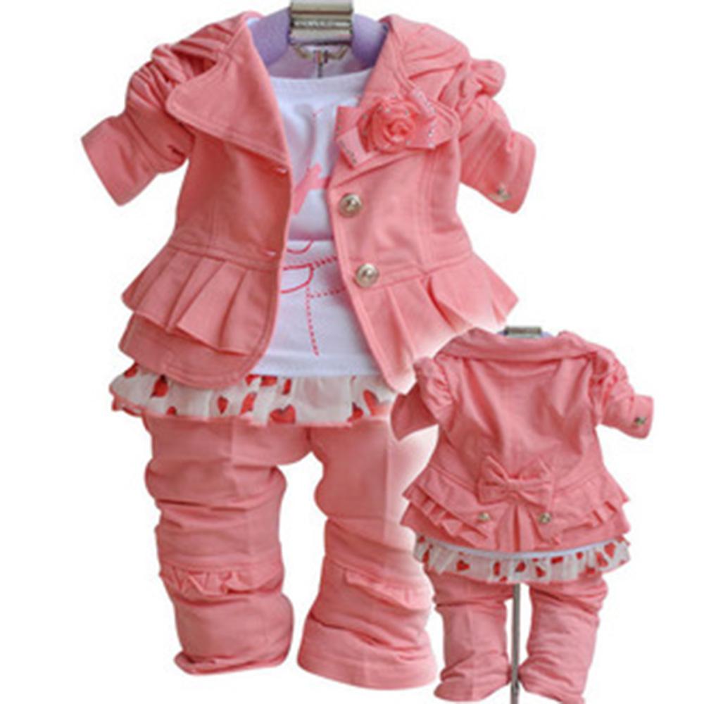 Autumn 2015 Kids Fashion Girls Clothing Sets Winter 3PCS Set Outerwear+T-Shirt+Pants/Hot Pink Sport Suit Set Spring  CL0703<br><br>Aliexpress