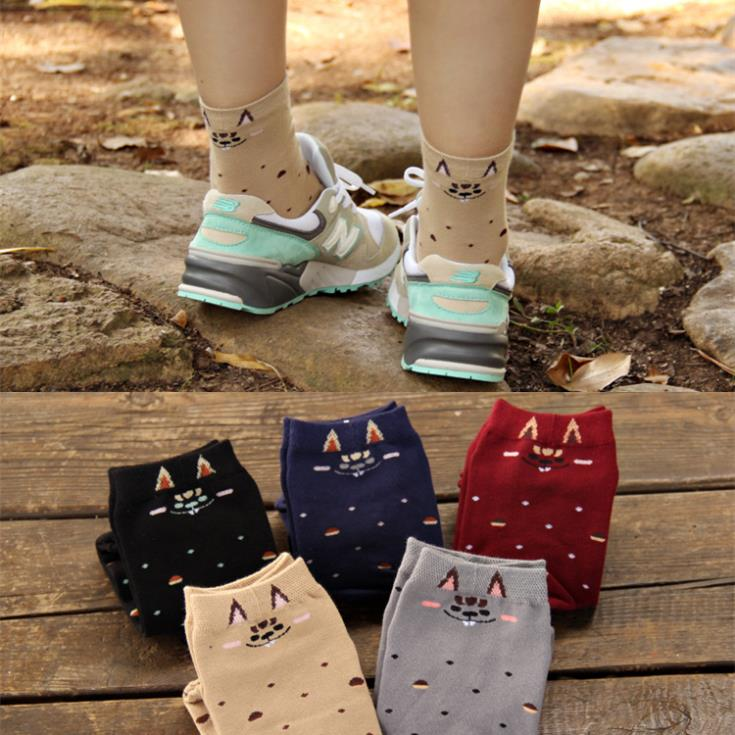 6 Candy color Whac-A-Mole Dot Cotton Sports Athletic Cotton Winter Autumn Warm Cute Knee High Women Socks/Meias/Calcetines(China (Mainland))