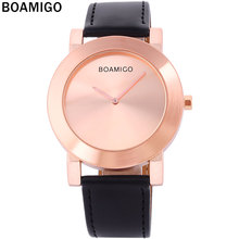 2016 men's watches minimalist large dial fashion casual quartz watches ultra-thin rose gold clock black leather wrist watches