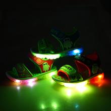 2016 d'été enfants led light up chaussures enfants plage occasionnels sandales chaussures avec la bande dessinée lumière Led chaussures pour enfants garçons et filles(China (Mainland))