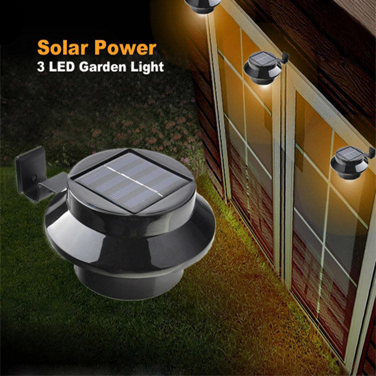 Solar Lights Roof: Outdoor Solar Powered 3 LED Cool White Light Fence Gutter