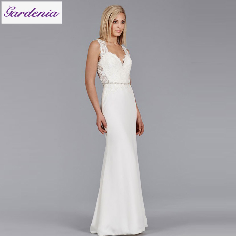 2015 sexy beach wedding dress backless sheath lace top for Best beach wedding dresses
