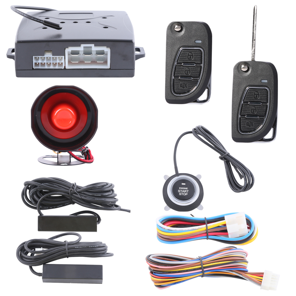 Universal car alarm kit passive keyless entry, remote lock unlock car doors push button start & remote engine start/stop(China (Mainland))