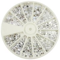 Nail Art Decorations Silver Rhinestones Pack Of 1200 Crystal in 12 Different Shapes Sizes, Beauty Accessory For Nails