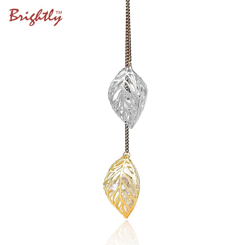 Brightly Long Necklaces Hollow Double Gold\Silver Plated Leaf filled with Created Diamonds Pendants Necklace For Women(China (Mainland))