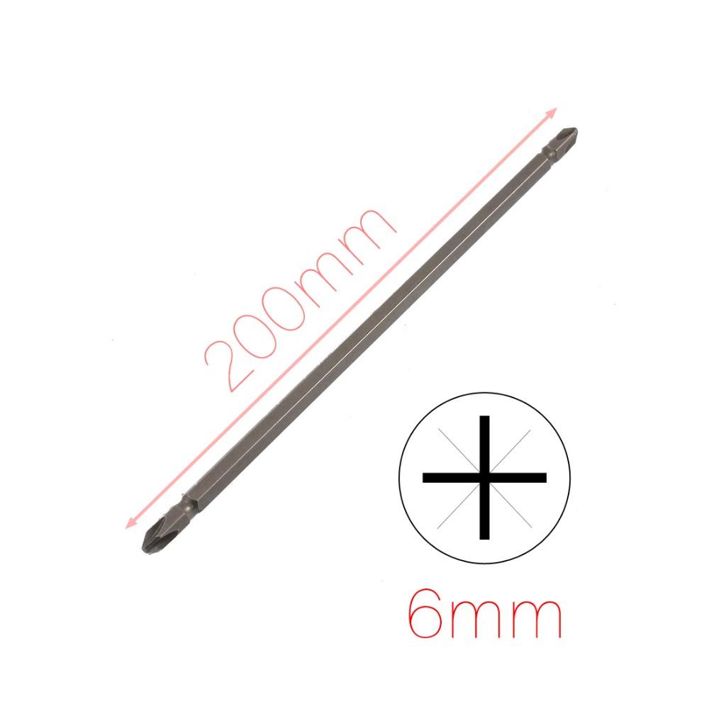 6mm x 200mm Long Dark Gray Twin Head Magnetic Phillips Screwdriver Bit 20cm(China (Mainland))