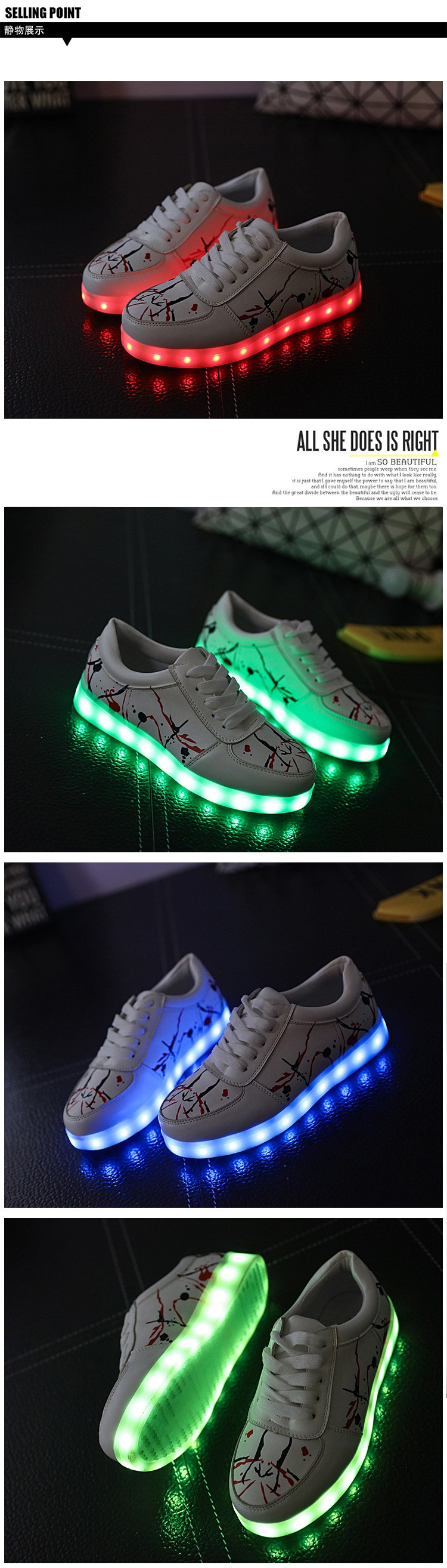 Hot Sale new arrived Women LED Shoes for Adults White Glowing Light Up Flat Shoes Luminous Recharging Size 35-40