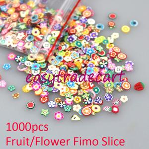 New 1000pcs Fruit Flower Mixed Fimo Clay Nail Art Tips Slice Nail Sticker Decoration Free Shipping(China (Mainland))