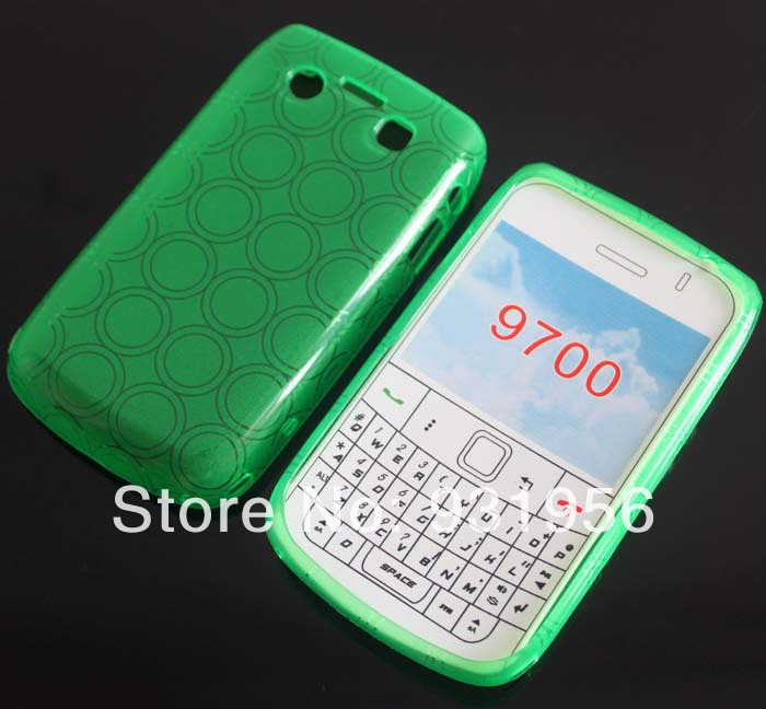 Green Crystal Multi Circle Design SOFT RUBBER GEL TPU SKIN COVER CASE FOR Blackberry Bold 9700 9780 New(China (Mainland))