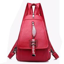 Feminino Mochila de Couro Designer de Alta Qualidade Mulheres Bolsa de Moda Sacos De Escola Menina Bagpack Vermelho Borla Saco Multifuncional À Prova D' Água(China)