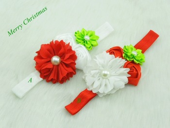 Boutique Christmas Gifts Baby Girls Headband Chiffon Flower Elastic Headband Satin Ribbon Flower Girls Hair accessories 12pcs