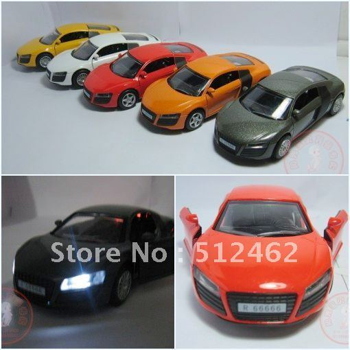 New arrival Free shipping 4 AUDI R8 R6 alloy car models by diecast 1/32 scale model cars kits for sale best seller