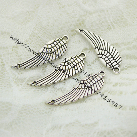 Wholesale 50pcs/lot 9*30mm Two Color Metal Mini Angel Wings Charms Jewelry connector D0548<br><br>Aliexpress