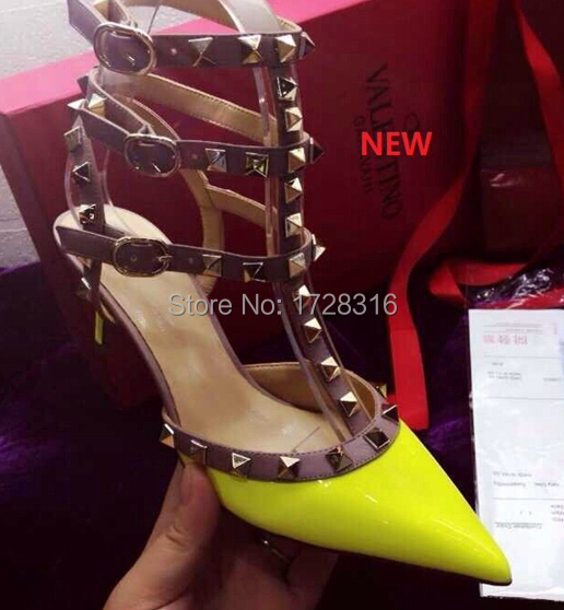 2015 new ladies high heel sandals pumps shoes studs women party double straps Euro 41 42 size matt leather 10cm 8cm heels - Super VIP shoe store