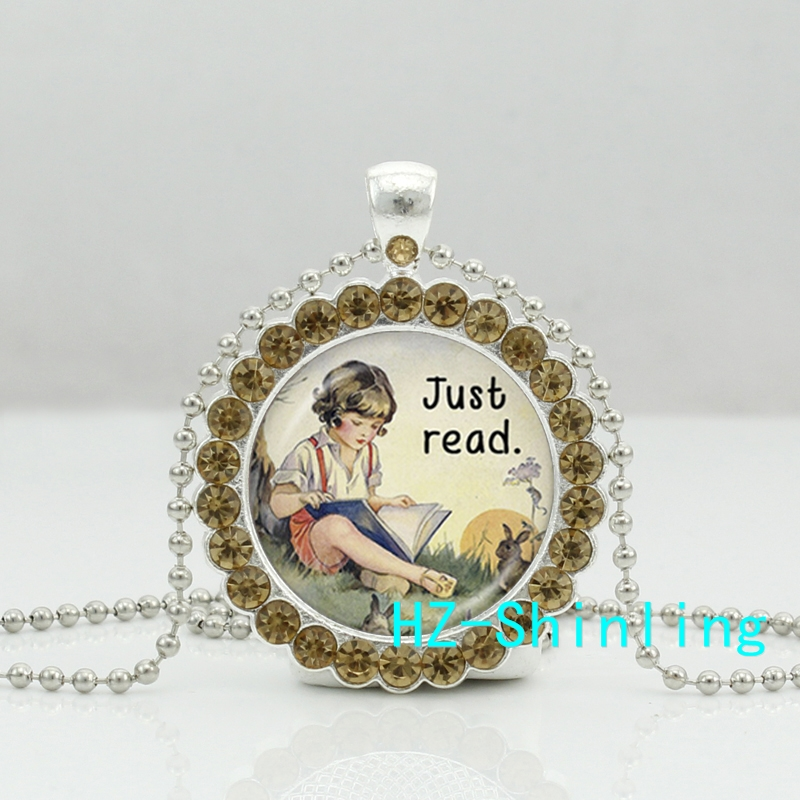 New Just Read Book Necklace Alice Wonderland Crystal Pendant Crystal Necklace Jewelry Ball Chain Long Necklace(China (Mainland))