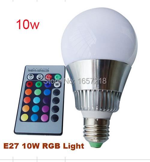 Гаджет  E27 3W/10W LED RGB Light Bulb Lamp Spotlight Colorful lights 16 Colors Changing + 24key IR Remote Controller Magic Lighting 1PCS None Свет и освещение