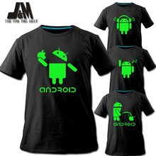 2016 men shirt Android logo sales promotion luminous T-shirt short tee fashion tshirt brand designs funny t shirt couple colthes(China (Mainland))