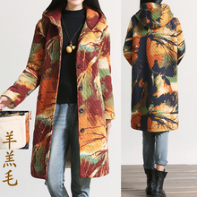 2015 new autumn winters cotton-padded clothes female coat  national wind printing long plus size 2XL hooded cotton clothing