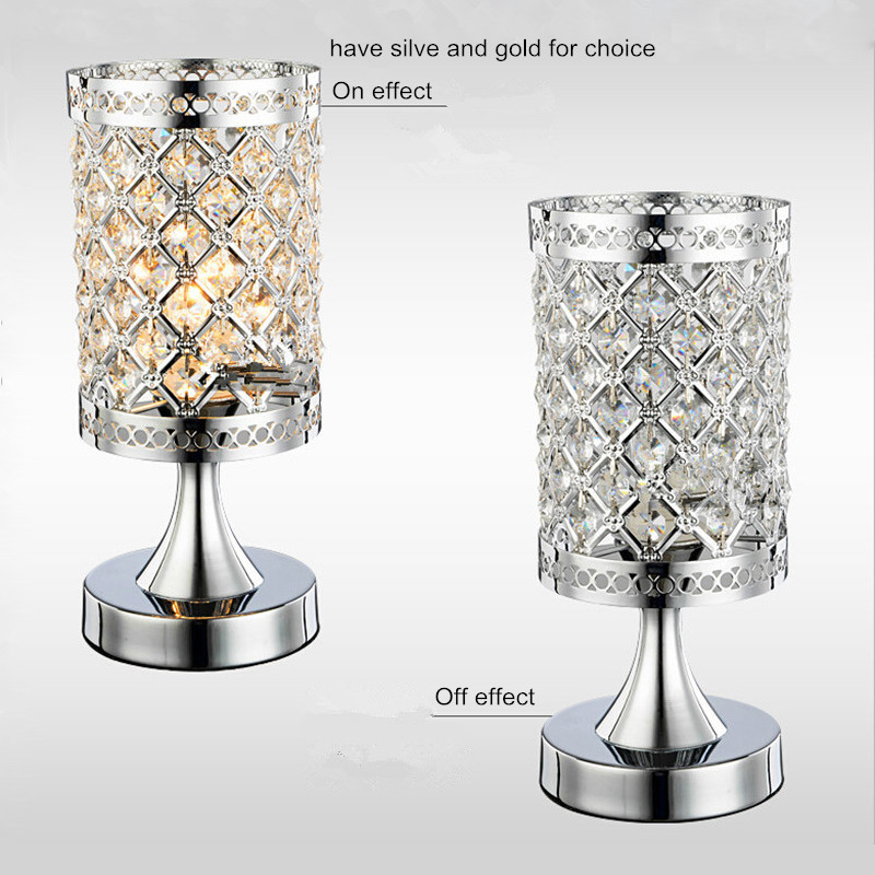 small crystal table lamps brief bedroom bedside desk lamp crystal. Black Bedroom Furniture Sets. Home Design Ideas