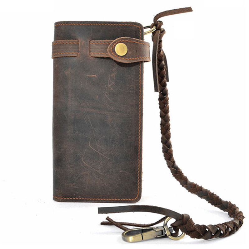 luxury real men 100% genuine leather wallet; purses long vintage mens wallet leather genuine wallet man with coin pocket(China (Mainland))