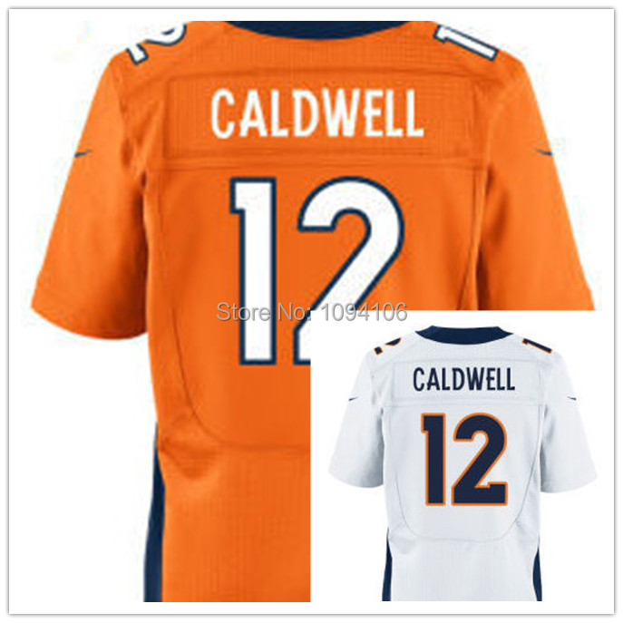 Cheap Denver #12 Andre Caldwell Jersey Orange White Team color Elite Authentic Football Jerseys 12 Caldwell 2014 New Jersey Mix(China (Mainland))