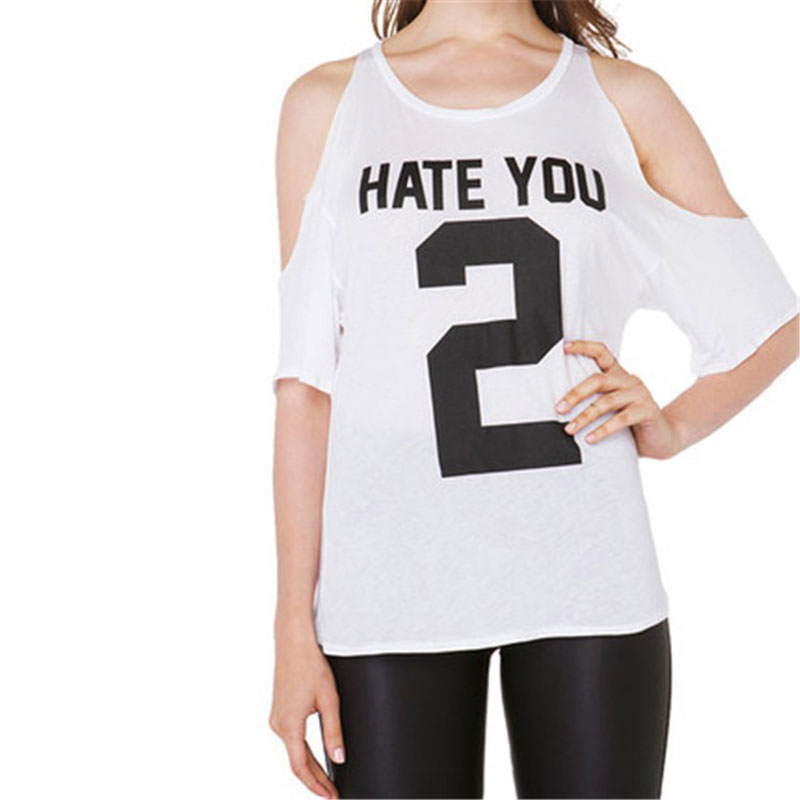 Women T-shirts Slim O Neck Loose Off Shoulder Half Sleeve Personalized Clothes Letter Number Printed Basic Tees Top T Shirt(China (Mainland))