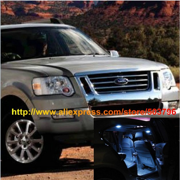 Free Shipping 8pcs/lot White Interior LED Lights For Ford Explorer Sport Trac 2007-2010(China (Mainland))