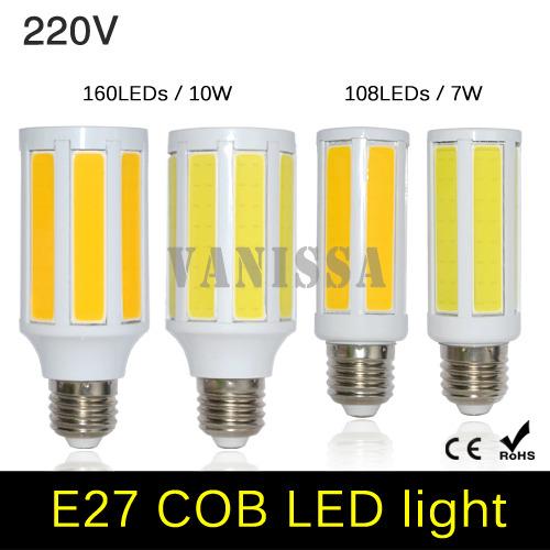 Eyesight Protection COB LED Corn Bulb E27 7W 10W LED lamp AC 220V Energy Saving Chandelier bulb For Home Indoor lighting(China (Mainland))