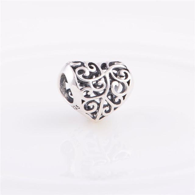 Аутентичные стерлингового серебра 925 бусины европейский шарм любовь сердца дизайн женщины DIY ювелирных изделий подходит Chamilia стиль браслет