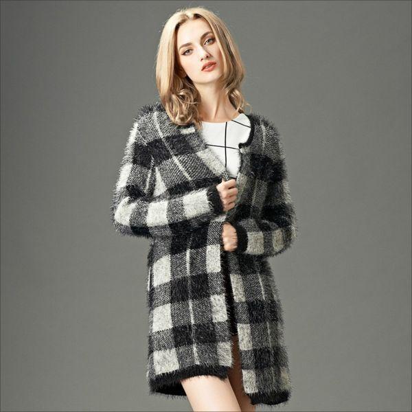 2014 Women Wool Coat Fashion Girl American Style Long Knitwear Plaid Sweater Coat Jacket Women Cardigans