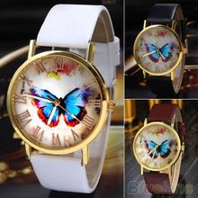 Creative Vintage Butterfly Faux Leather Quartz Analog Dress Wrist Watch  Women